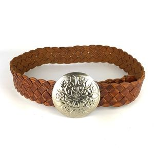 Moroccan Braided Leather Medallion Buckle Belt